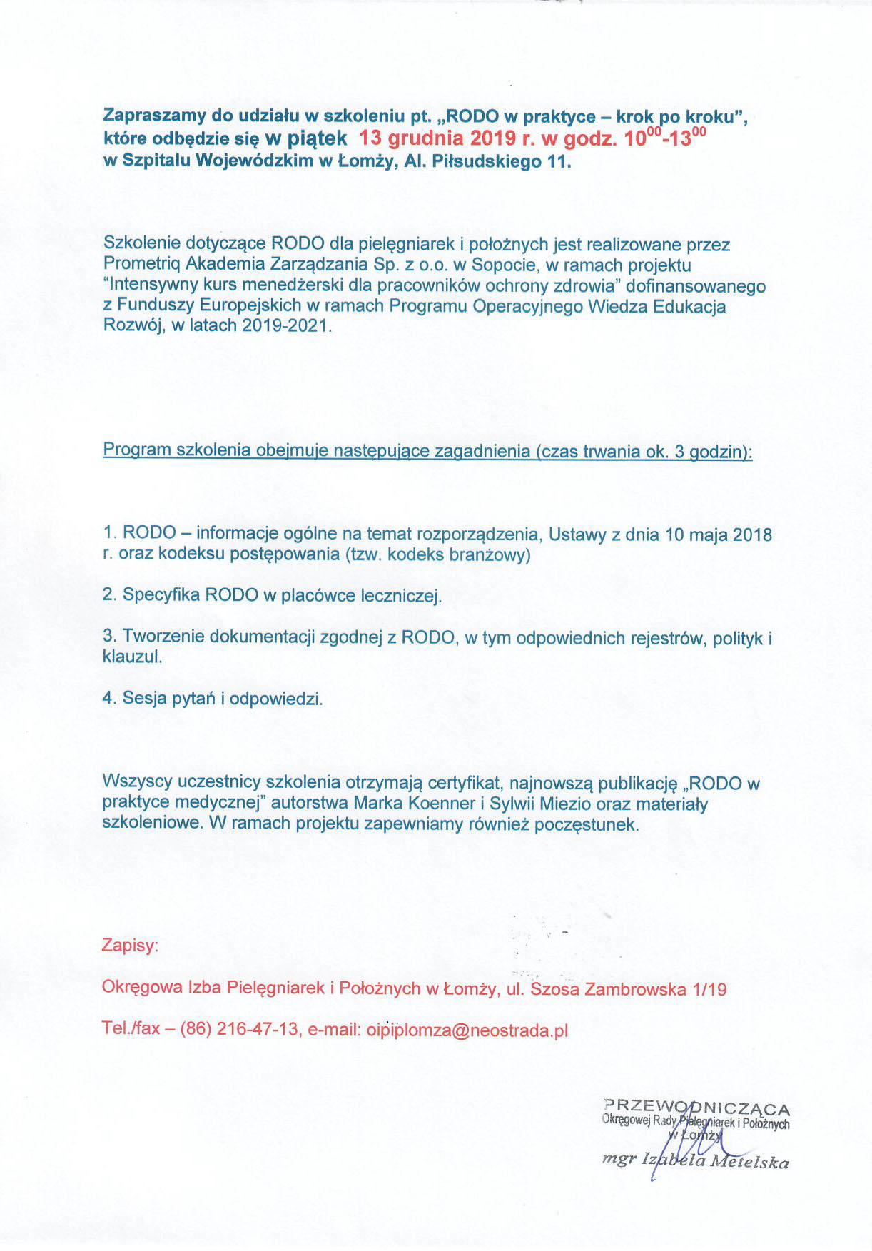 Okręgowa Izba Pielęgniarek i Położnych w Łomży | Strona